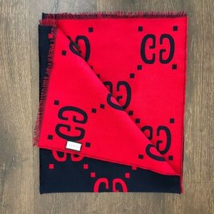 Gucci GG Red Blue Logo Scarf
